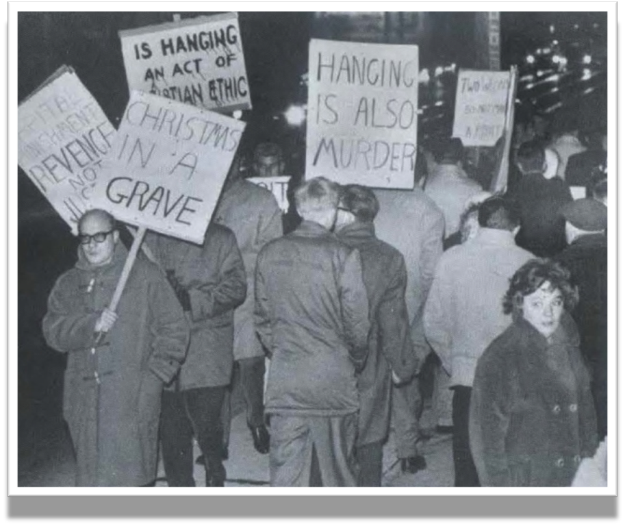 Protestors picket Canada's last use of the death penalty, which took place in Toronto in December of 1962.